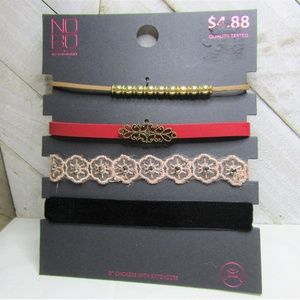 5/$15 - Four Red, Black, Pink and Gold Chokers
